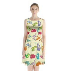 Group Of Funny Dinosaurs Graphic Sleeveless Waist Tie Chiffon Dress