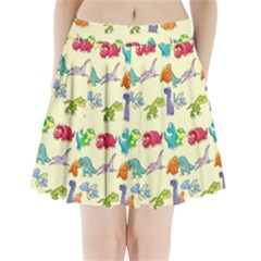 Group Of Funny Dinosaurs Graphic Pleated Mini Skirt