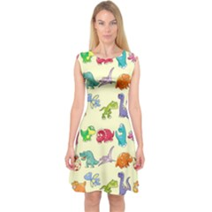 Group Of Funny Dinosaurs Graphic Capsleeve Midi Dress