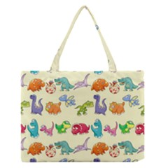 Group Of Funny Dinosaurs Graphic Medium Zipper Tote Bag