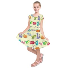 Group Of Funny Dinosaurs Graphic Kids  Short Sleeve Dress
