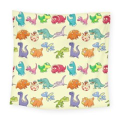 Group Of Funny Dinosaurs Graphic Square Tapestry (large)
