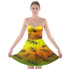 Insect Pattern Strapless Bra Top Dress