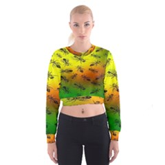 Insect Pattern Cropped Sweatshirt