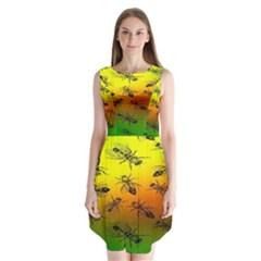 Insect Pattern Sleeveless Chiffon Dress