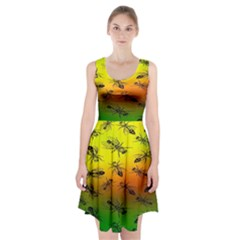 Insect Pattern Racerback Midi Dress