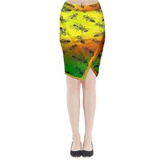 Insect Pattern Midi Wrap Pencil Skirt