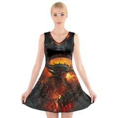 Dragon Legend Art Fire Digital Fantasy V Neck Sleeveless Skater Dress