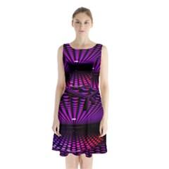 Glass Ball Texture Abstract Sleeveless Waist Tie Chiffon Dress