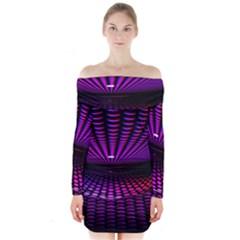 Glass Ball Texture Abstract Long Sleeve Off Shoulder Dress
