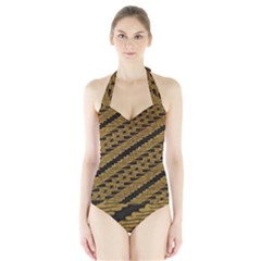 Traditional Art Indonesian Batik Halter Swimsuit