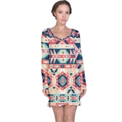Aztec Pattern Long Sleeve Nightdress