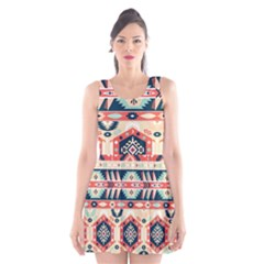 Aztec Pattern Scoop Neck Skater Dress