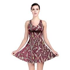 Crewel Fabric Tree Of Life Maroon Reversible Skater Dress