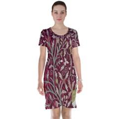 Crewel Fabric Tree Of Life Maroon Short Sleeve Nightdress