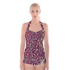 Crewel Fabric Tree Of Life Maroon Boyleg Halter Swimsuit