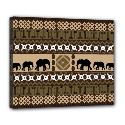 Elephant African Vector Pattern Deluxe Canvas 24  X 20