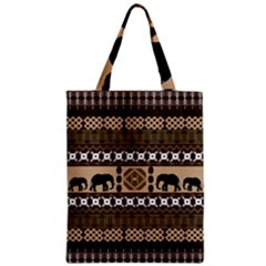 Elephant African Vector Pattern Zipper Classic Tote Bag
