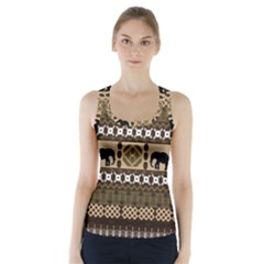 Elephant African Vector Pattern Racer Back Sports Top