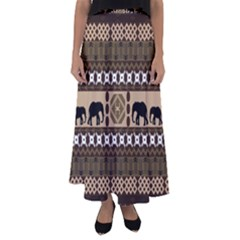 Elephant African Vector Pattern Flared Maxi Skirt