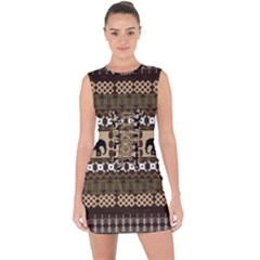 Elephant African Vector Pattern Lace Up Front Bodycon Dress