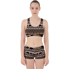 Elephant African Vector Pattern Work It Out Sports Bra Set
