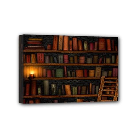 Books Library Mini Canvas 6  X 4