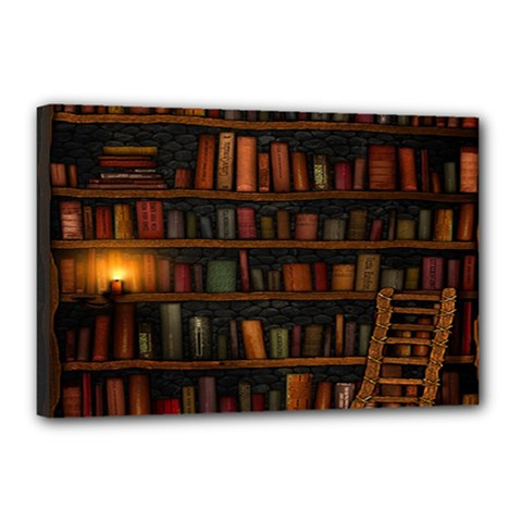Books Library Canvas 18  X 12