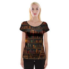 Books Library Cap Sleeve Tops