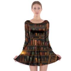 Books Library Long Sleeve Skater Dress