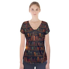 Books Library Short Sleeve Front Detail Top