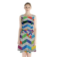 Charming Chevrons Quilt Sleeveless Waist Tie Chiffon Dress