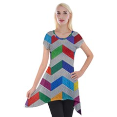 Charming Chevrons Quilt Short Sleeve Side Drop Tunic