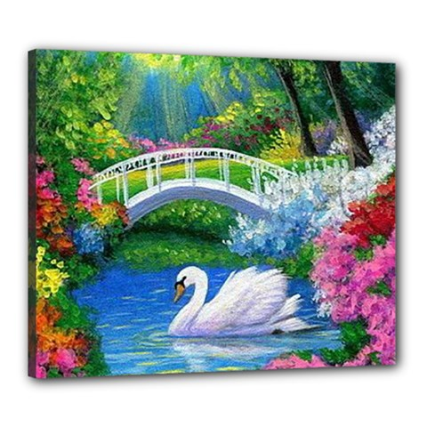 Swan Bird Spring Flowers Trees Lake Pond Landscape Original Aceo Painting Art Canvas 24  X 20