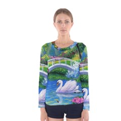 Swan Bird Spring Flowers Trees Lake Pond Landscape Original Aceo Painting Art Women s Long Sleeve Tee