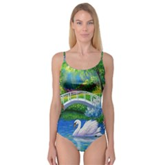 Swan Bird Spring Flowers Trees Lake Pond Landscape Original Aceo Painting Art Camisole Leotard