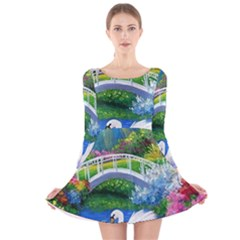 Swan Bird Spring Flowers Trees Lake Pond Landscape Original Aceo Painting Art Long Sleeve Velvet Skater Dress
