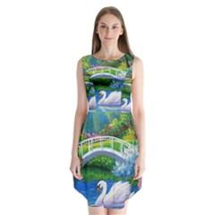 Swan Bird Spring Flowers Trees Lake Pond Landscape Original Aceo Painting Art Sleeveless Chiffon Dress