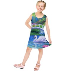Swan Bird Spring Flowers Trees Lake Pond Landscape Original Aceo Painting Art Kids  Tunic Dress