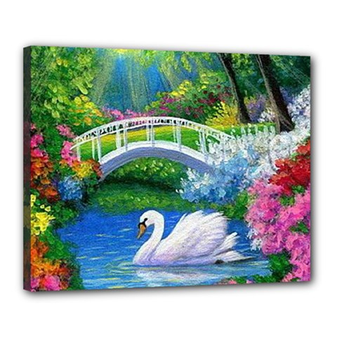 Swan Bird Spring Flowers Trees Lake Pond Landscape Original Aceo Painting Art Canvas 20  X 16