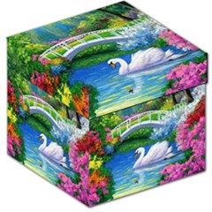 Swan Bird Spring Flowers Trees Lake Pond Landscape Original Aceo Painting Art Storage Stool 12