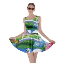 Swan Bird Spring Flowers Trees Lake Pond Landscape Original Aceo Painting Art Skater Dress