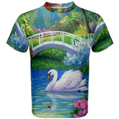 Swan Bird Spring Flowers Trees Lake Pond Landscape Original Aceo Painting Art Men s Cotton Tee