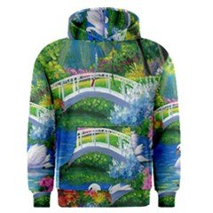 Swan Bird Spring Flowers Trees Lake Pond Landscape Original Aceo Painting Art Men s Pullover Hoodie
