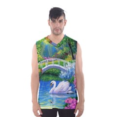 Swan Bird Spring Flowers Trees Lake Pond Landscape Original Aceo Painting Art Men s Basketball Tank Top