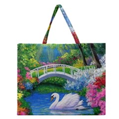 Swan Bird Spring Flowers Trees Lake Pond Landscape Original Aceo Painting Art Zipper Large Tote Bag