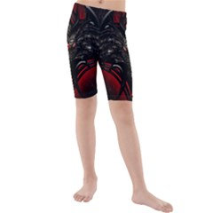 Black Dragon Grunge Kids  Mid Length Swim Shorts