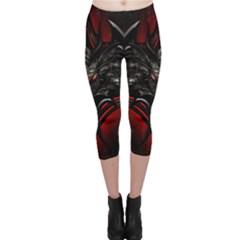 Black Dragon Grunge Capri Leggings