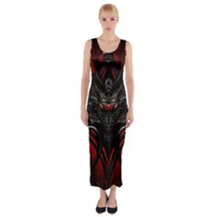 Black Dragon Grunge Fitted Maxi Dress
