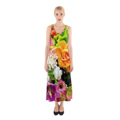 Colorful Flowers Sleeveless Maxi Dress